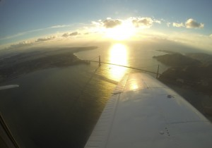 Flying over the Golden Gate Bridge